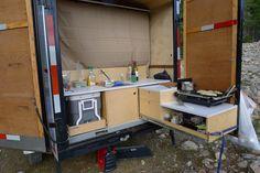 Cargo trailer camper conversion kitchen