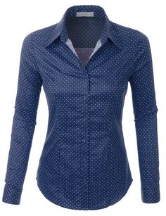 Whatever the occasion is, this polka dots button down long sleeve tailored shirt will be a perfect fit. This comfortable wash-and-wear shirt is indispensable for the workday. Camisa Social Jeans, Work Wardrobe, Capsule Wardrobe, The Office Shirts, Tailored Shirts, Business Attire, Work Attire, Shirt Outfit, Ideias Fashion