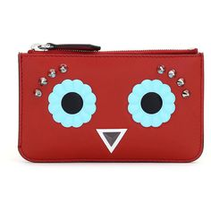 Fendi Faces Leather Key Pouch (€340) ❤ liked on Polyvore featuring bags, wallets, red, leather key bag, fendi wallet, red leather bag, key purse and key bag