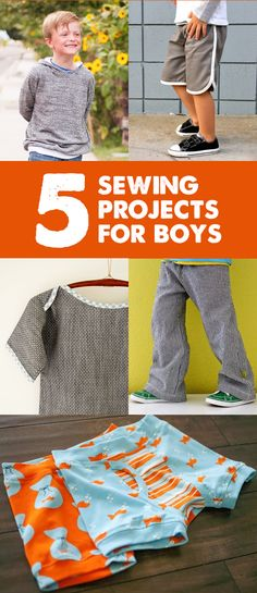 Left to right, top to bottom:     Boys Hooded Sweatshirt tutorial from Shwin & Shwin   Retro Racer Shorts tutorial by Dana of Mad...