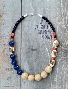 DIY Watercolor Statement Necklace - this is easy to make and would be so fun to customize. Perfect for Spring too!