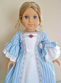 "American Girl Dolls Felicity Elizabeth ""Summer Stripes"" Colonial Gown 