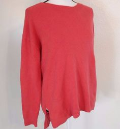 Caslon Sweater Size S Small Red Orange Cotton Wool Blend Zip High Low Defect #Caslon #Sweater #Casual