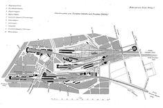 Gesamte Anlagen von Potsdamer,Anhalter und Dresdener Bahnhof in den 1870er Jahren.Der Dresdener Bahnhof ist wie geplant gezeichnet,wurde aber real nicht gebaut.