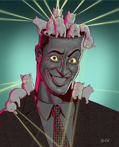 Steve Cutts - Heres some nice fluffy kittens for you all to look at. Crazy Cat Lady, Crazy Cats, Satirical Illustrations, Graphic Illustrations, Canvas Art, Canvas Prints, Fluffy Kittens, Animation, Modern Artwork