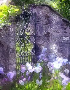 Wrought iron gate in a stone wall with Iris surround. Garden Gates, Garden Art, Garden Design, Beautiful Gardens, Beautiful Flowers, Iron Gates, My Secret Garden, Arte Floral, Shades Of Purple