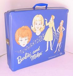 +1964 RARE NAVY BLUE BARBIE AND MIDGE VINYL DOUBLE DOLL CASE
