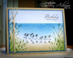 """By Darleen Adamo. Uses Stampin' Up """"Wetlands"""" set. Stippling and sponging with SU Bashful Blue, Marina Mist, Pacific Point, Old Olive, Crumb Cake, & Creamy Caramel."""