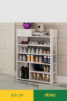artes Large Wood 6 Tiers Shoe Rack Storage Footwear Cabinet Shelf Stand 1 Cabinet Unit Top 5 New Pla Wooden Shoe Storage, Shoe Storage Cabinet, Storage Shelves, Rack Shelf, 5 Tier Shoe Rack, Diy Shoe Rack, White Shoe Rack, Ikea, How To Store Shoes