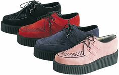 Creepers in black, red, navy blue, and peach. <3