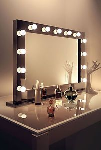 Details About Diamond X Gloss Black Hollywood Makeup Mirror With