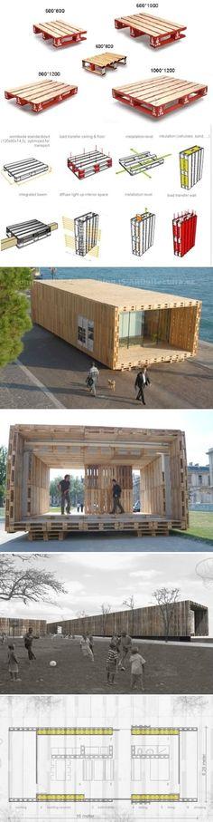 La Casa Palets es un ejemplo de arquitectura ecológica y sostenible, de bajos coste. Palets en fachada, paredes y techos, con material aislante en su interior.