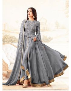 Buy Grey Georgette Anarkali Suit online, SKU Code: This Grey color Party anarkali suit for Women comes with Embroidered Faux Georgette. Indian Gowns, Indian Attire, Indian Ethnic Wear, Indian Suits Punjabi, Indian Style, Pakistani Dress Design, Pakistani Outfits, Indian Outfits, Pakistani Gowns