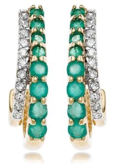 Amazon.com: 14k Yellow Gold Blue Sapphire and Diamond J-Hoop Earrings: Jewelry