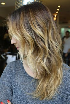 golden caramel blonde hair. love the length