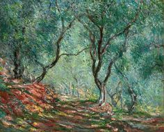 Olive Tree Wood in the Moreno Garden 'Bois d'oliviers au jardin Moreno' - Claude Monet, 1884 Private Collection. In Monet went with Renoir on a brief trip to the Mediterranean Italian Riviera. Monet obtained a letter of introduction to M. Moreno, t Claude Monet, Renoir, Monet Paintings, Landscape Paintings, Abstract Paintings, Contemporary Paintings, Van Gogh Pinturas, Artist Monet, Garden Painting