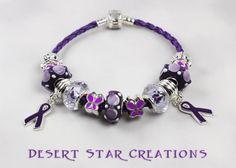 Purple Rope Lupus Epilepsy Bracelet Euro by DesertStarCreations Pandora Rope Bracelet, Pandora Jewelry, Bracelets, Purple Ribbon Awareness, Awareness Ribbons, Purple Day, Purple Stuff, Large Hole Beads, Jewelery