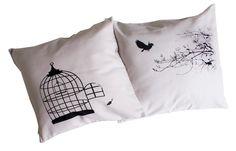 Handgemaakte kussenset Vogel Handmade Pillows, Bed Pillows, Pillow Cases, Bird, Etsy, Heart, Accent Pillows, Blue Prints, Pillows