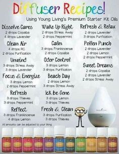Young Living starter kit diffuser recipes ♡