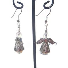 Angel and Opalite Crystal Dangle Earrings  2 by EBLDesigns on Etsy,