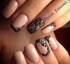 Glossy beige and black lace nail art design. Square Nail Designs, Marble Nail Designs, Elegant Nail Designs, Toe Nail Designs, Beautiful Nail Designs, Lace Nails, Rhinestone Nails, Flower Nails, Nail Art Kit
