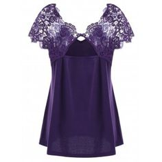 Plus Size Cutwork Lace Trim T-Shirt - DEEP PURPLE DEEP PURPLE