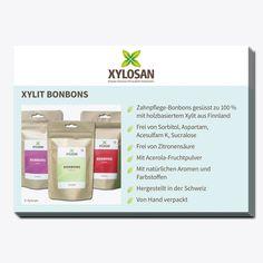 Die Postkarte gibt einen Überblick über die Vorzüge der Xylosan Xylit Bonbons.  - Format: A6 - 10 Stück Personal Care, Candy, Chewing Gum, Dental Health, Postcards, Packaging, Products, Personal Hygiene