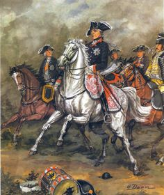 King Fredrich the Great in battle, Seven Years War