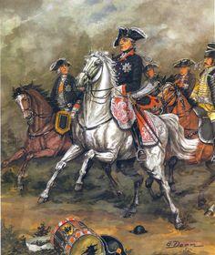 King Fredrich the Great in battle, Seven Years War