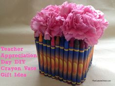 This DIY crayon flower vase is sure to brighten up any teacher's desk!