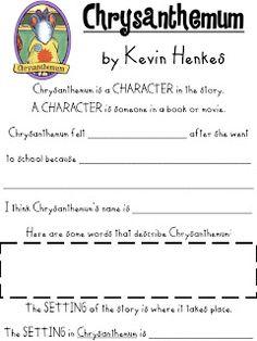 First Grade Fanatics: Chrysanthemum free graphic organizer and worksheet character, setting, plot