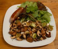 Pipapo Paleo: Rezept: Bratwurst mit gedünsteten Pilzen und Salat...