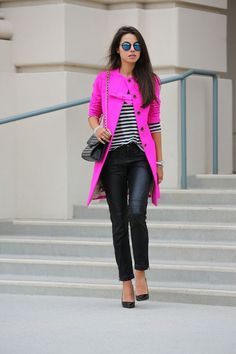 Annabelle Fleur of Viva Luxury in Neon Pink wearing Crystal stretch bracelet, silver & blue ribbon bracelet, gold crystal spike bracelet and silver bite ring all via Cornwall Street, J.Crew bow coat, Free People Rocker veganleathercropped skinny pants, Rebecca Minkoff quilted affair bag, Theyskens' Theory Aven pointy toe pumps, and a Free People striped top.