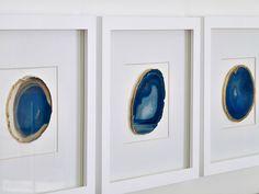 DIY Agate Art - Framed Blue Agate Slices