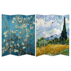 Oriental Furniture Van Gogh Fine Art Double Sided Room Divider - Almond Blossoms and Wheat Field