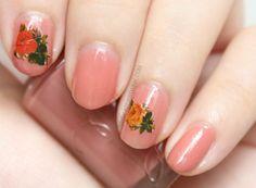 Etude House nail polish BE102 maple syrup with roses decal #SephoraNailspotting
