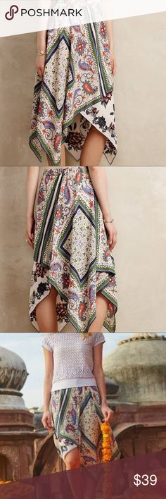 """⬇️🌻 Anthropologie Maeve Far Fun Skirt Beautiful Anthropologie Maeve """"Far Fun"""" Scarf Skirt. Size 0P. In excellent condition. Elastic waist (measurements shown in pictures). Fun summer skirt with a beautiful print. Anthropologie Skirts"""
