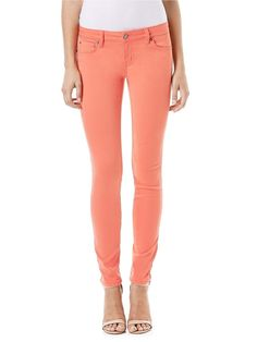 """Liza Skinny Jean in Coral. $108.00. Wear these coral skinny jeans all spring and summer long! Liza is Level 99's true skinny fit - slim thigh to ankle. Featuring a classic five pocket design, 8"""" front rise and a gap-free contoured waistband, Liza fits as good as she looks. The Liza is sure to become your staple skinny. Regular rise, five pocket construction, Contoured waistband, Specs: Rise- 8"""", Inseam- 31"""", Leg Opening- 11""""."""