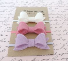 Felt Bow Headbands Tiny Bow Headbands Baby Girl Headbands #handmade #etsyretwt