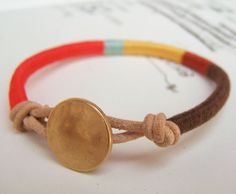 Cooper bracelet textile leather by OrangeistheSun