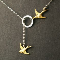 Bird Jewelry, Sterling Silver Lariat Necklace, Sparrow Charms, THE JOURNEY HOME $35