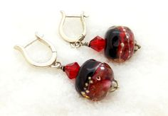 Black and Red Handmade Lampwork Bead Drop by KittyKatGlassDesigns, $35.00