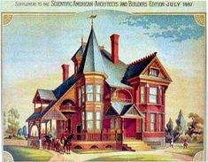 Engraving of Victorian home Kansas City MO: An 1885 Queen Anne in Kansas City - James W. Victorian House Interiors, Victorian House Plans, Old Victorian Homes, Victorian Design, Victorian Decor, Victorian Gothic, Victorian Houses, Victorian Illustration, House Illustration