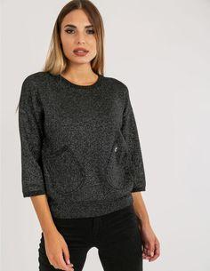 Πλεκτή Μπλούζα Lurex 015235 ΜΑΥΡΟ Pullover, Sweaters, Fashion, Moda, Fashion Styles, Sweater, Fashion Illustrations, Sweatshirts, Pullover Sweaters