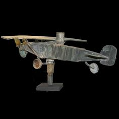 Airplane Weathervane  c. 1925  Copper  Funky and delightful individual effort  Found in New Jersey