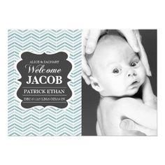 Blue Vintage chalkboard Birth Announcement