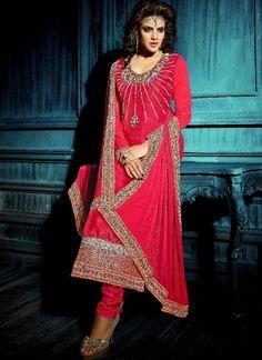 New Designer Pink Bhagalpuri Silk Embroidery Work Anarkali Suit  http://www.angelnx.com/Salwar-Kameez/Anarkali-Suits