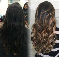 37 Sweet Caramel for 2019 Balayage is an alternative technique to traditional salon highlighting with foils. Your colorist can literally paint highlights precisely where the sun would actually hit your hair. Caramel balayage on black hair can. Hair Color Highlights, Ombre Hair Color, Hair Color Balayage, Cool Hair Color, Hair Colors, Brunette Highlights, Bayalage Black Hair, Black Hair With Blonde Highlights, Balayage Hairstyle