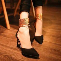 Gold Ankle Strap Banquet Stilettos- by Zeelous Street Style