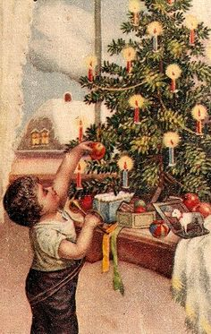 Boy reaching for Apple on Christmas Tree http://www.pinterest.com/celiasalashered/navidad/